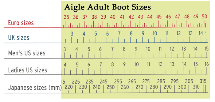 aigle boot size adult